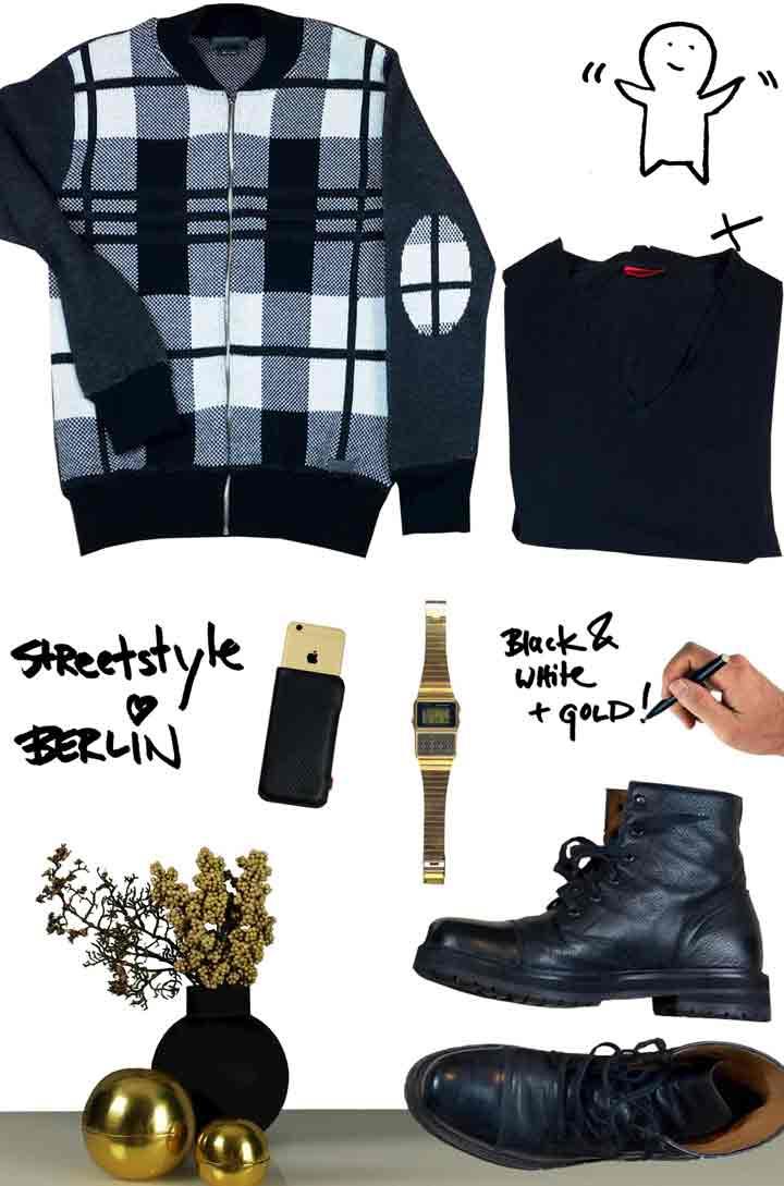 Jacke-Shirt-goldene Casio Taschenrechneruhr - goldenes Iphone - Berlin Streetstyle mit Marc Jacobs Boots für das Herbstoutfit beim Mann