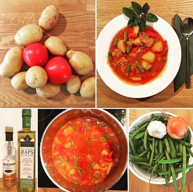 Collage aus Bilder zur Zubereitung und Kochen zum Rezept für einen kreativen und leckeren Bohneneintopf aus dem Kochblog Mokowo