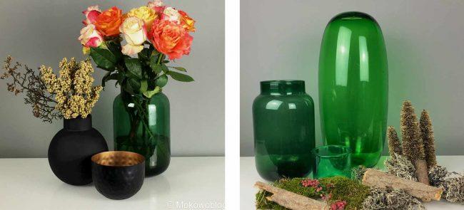 grüne Vasen und Blumen zum Thema stylische Herbstliche Tischdeko / Deko Trends für den Herbst 2017 wohnblog mokowo