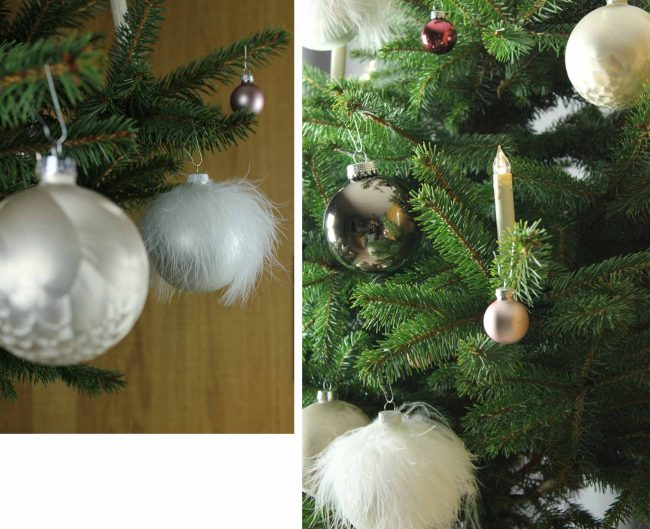 weißer tannenbaumschmuck-weihnachten-weiße kugeln