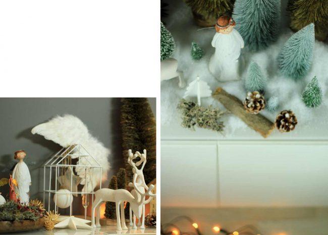 Weihnachtsengel aus Holz in Winterlandschaft aus Kunstschnee und Deko-mokowo-blick