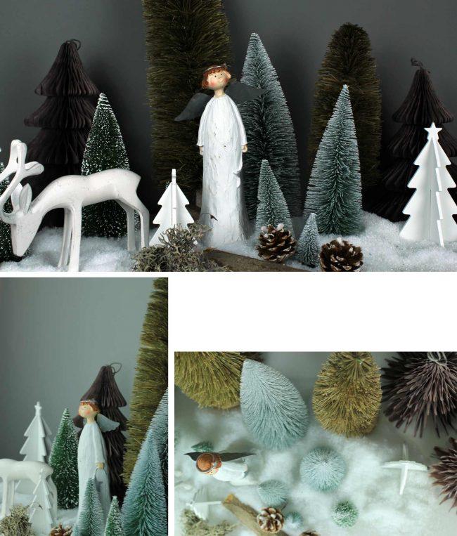 Collage aus Bildern, Weihnachtsengel aus Holz und Holzhirsche in Winterlandschaft aus Kunstschnee und Deko