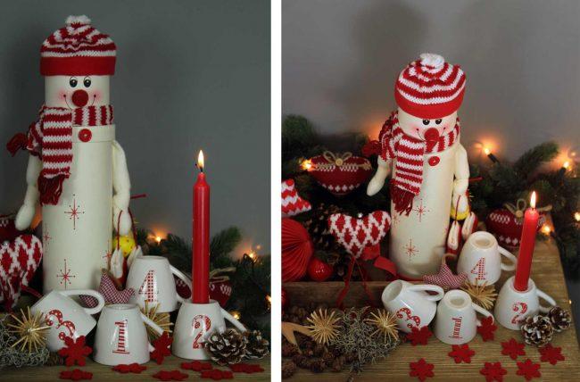 lustige schneemann-Weihnachtsdeko-Ideen-vorweihnachtszeit mit kerze und adventskerze