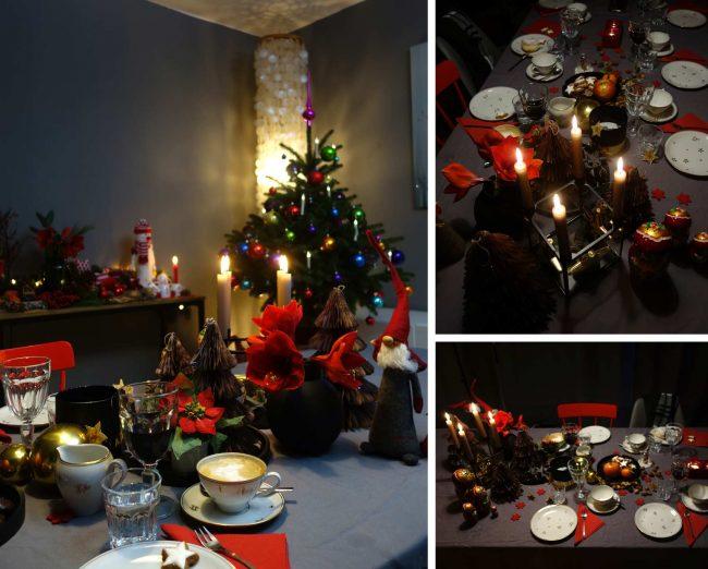 festliche tischdekoration an weihnachten - Collage von Festtafel und Weihnachtsbaum auf dem Interior Blog MoKoWo