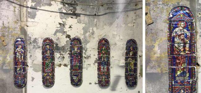 Bild von bemalten Skateboards auf der Bright Berlin 2017