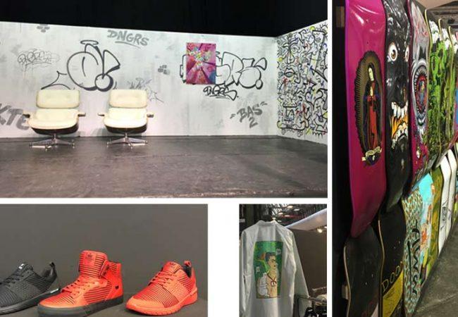 bild von Bühne, roten Sneaker, Shirt und Skateboards auf der Fashionweek Berlin 2017