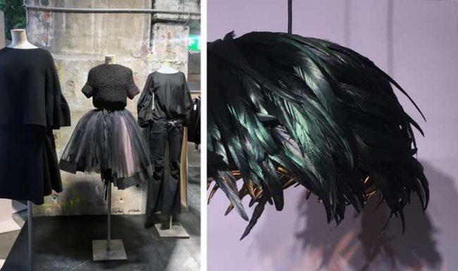 Bild von Kleidern und Lampe zur Show&Order im Kraftwerk Berlin