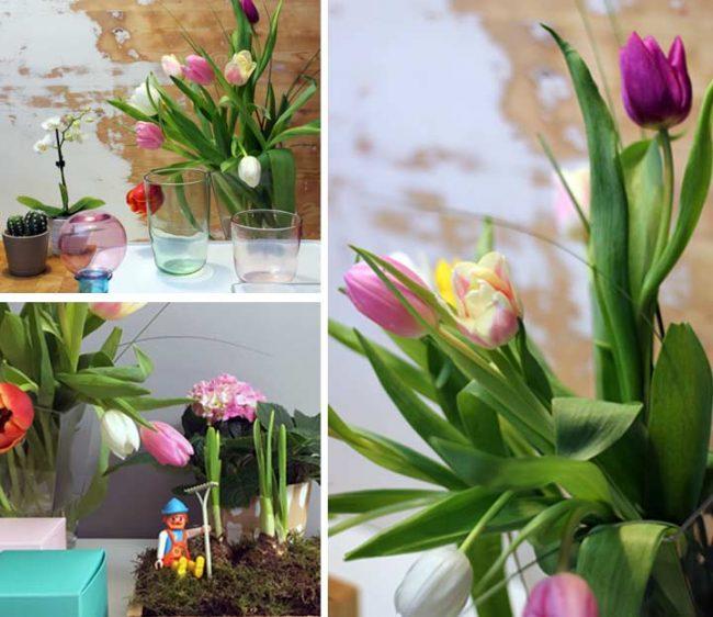 Bild mit Tulpen und Frühlingsdekoration auf dem Interior Blog Mokowo