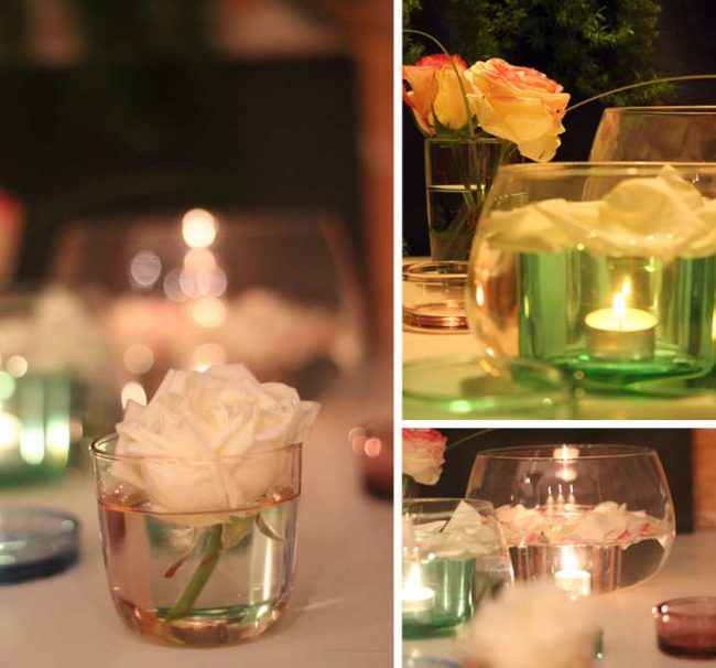 Bild mit Rosen und Glasschalen zum Valentinstag
