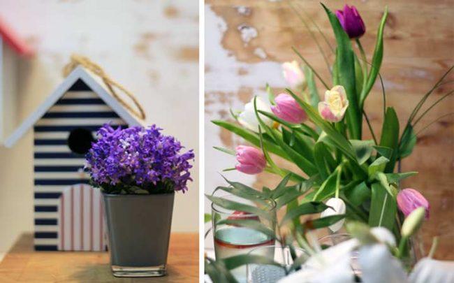 Bild mit Blumen und Vogelhaus für Frühlingsdekoration auf unseren Interior Blog