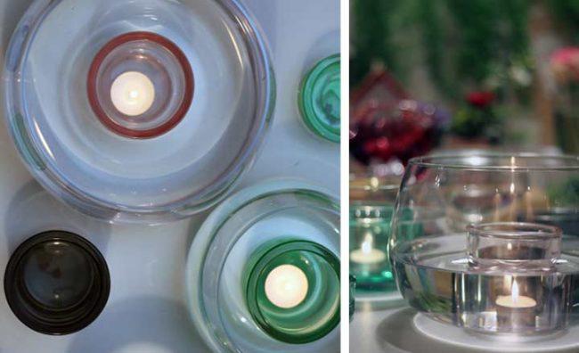 Valentinstag Deko Ideen-Bild von oben auf die Glasschalen mit Wasser und Teelichter