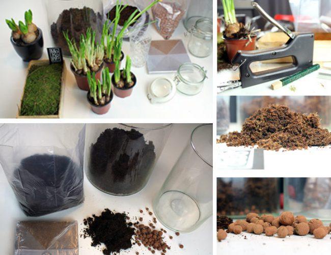 Frühlingsblüher, Tacker, Vorbereitung - Bild mit Töpfen und Gläsern. Frühlingsdeko Blog Wohnblog