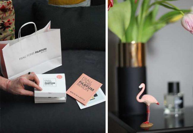 Bild mit Duftbox Frau Tonis Parfum und Flamingo mit Blumen