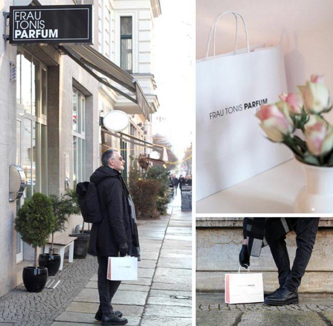 Außenansicht des Geschäfts Frau Tonis Parfum in Berlin in der Zimmerstraße mit Person