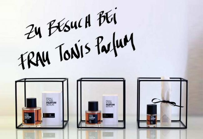Beitragsbild zum Bericht und Blogpost über die Duftmanufaktur Frau Tonis Parfum Berlin - 3 Parfum Flakons, Werkstatt