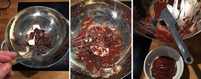 Schokolade schmelzen für das Rezept für Halvaschnecken