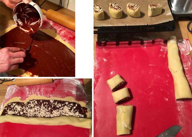 Zubereitung und Rezept für Halvaschnecken, Schokolade auftragen