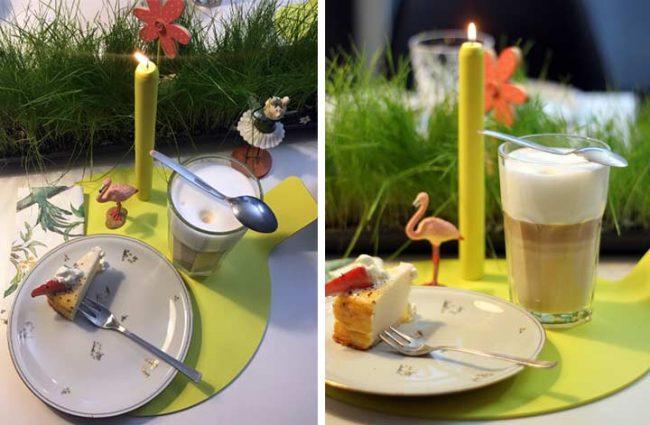 Bild von der festlichen Tischdekoration mit Kaffee und Kuchen und Design Kerze von Lunedot