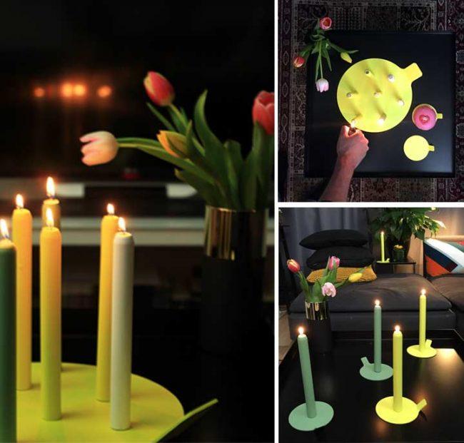 Bild mit gelben und grünen Design mit Kerständer und Kerzenhalter mit schwarzen Interior Hintergrund
