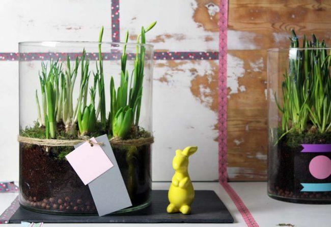 Bild mit Glasvase und Osterhase auf Interior Blog