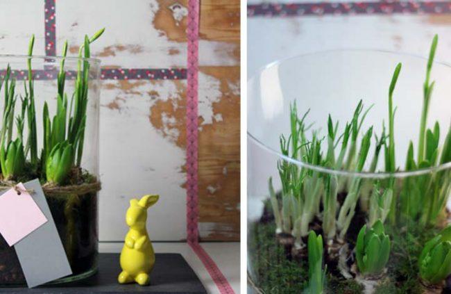 Bild mit Glasvase und Osterhase auf Interior Blog-Dekoideen große Glasvase-Bodenvase