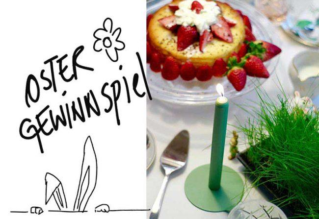 Bild mit Kuchen und Kerze -Oster Gewinnspiel Lunedot Designkerze Blog