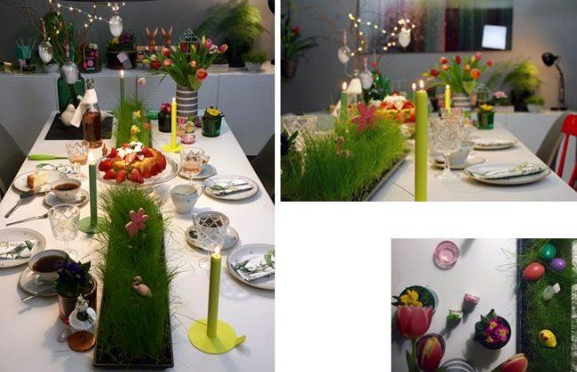 Ostertafel mit LuneDot und festlicher Tischdeko und Ostergras