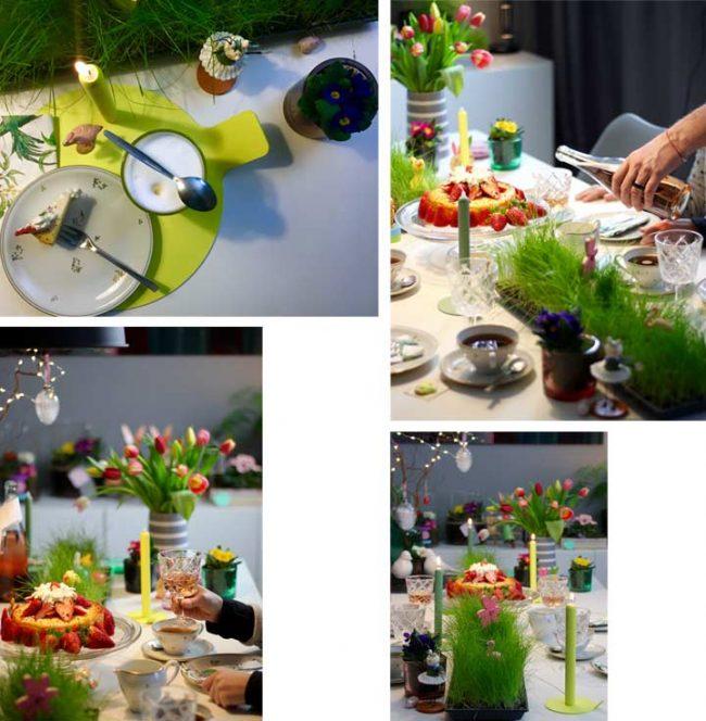 festliche Tischdeko mit Kerzen und Ostergras auf Interior blog