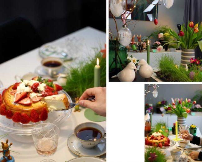 Torte auf Ostertafel auf festlicher Tischdeko zu Ostern