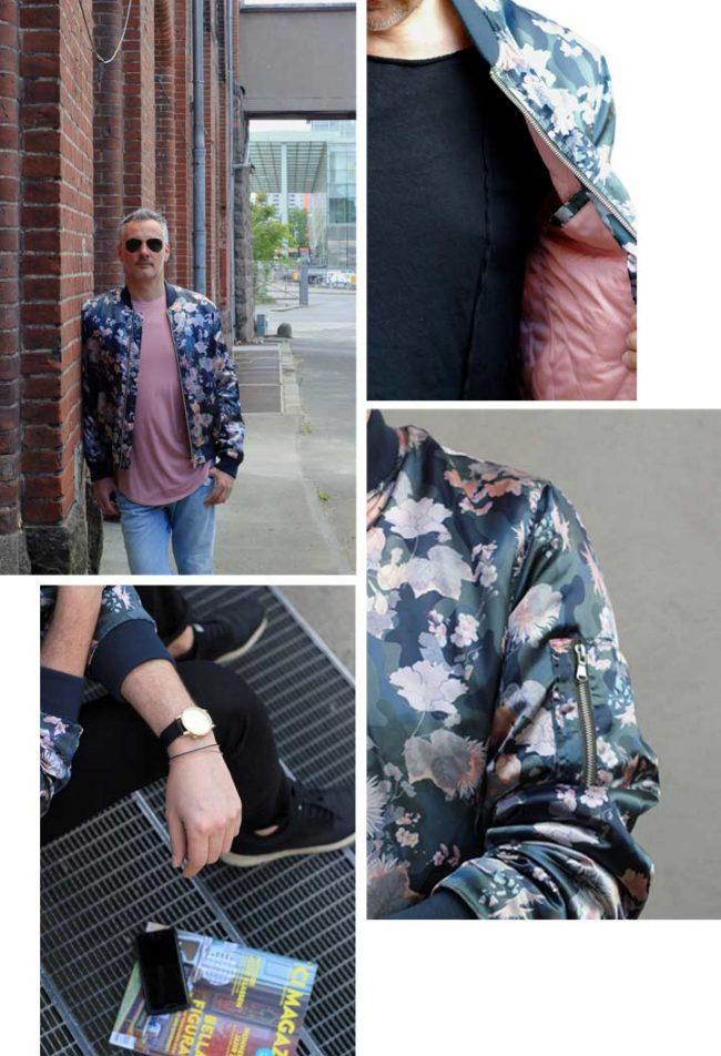 Collage aus Bilder mit Mann und Sommerjacke