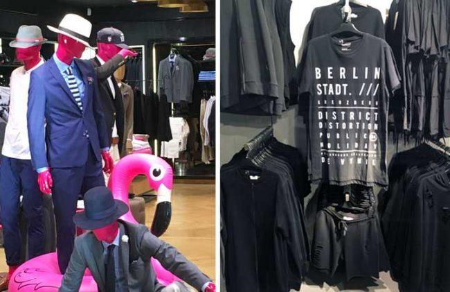 Modeblog Bild mit Schaufensterfiguren und Tshirts zum Thema online Shopping vs. Einzelhandel