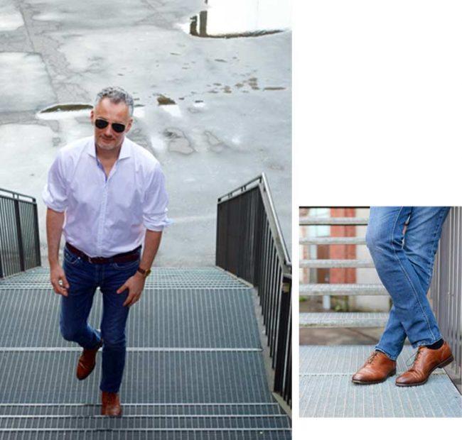 Mann mit Hemd und Jeans auf dem Modeblog Mokowo -Fashion week Berlin 2017