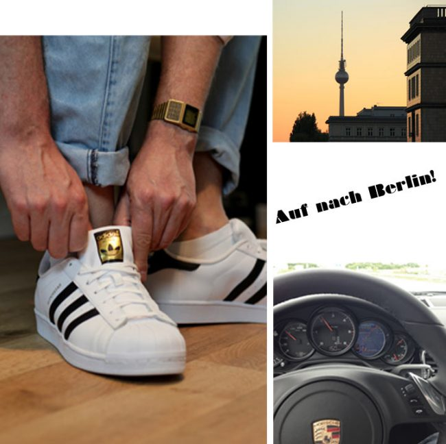 Berliner Fernsehturm, Adidas Schuhe und goldene Casio, Porsche Lenkrad - Fashionweek Berlin 2017 - Modeblog für Männer