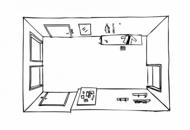 Skizze vom Flur Plattenbau für Renovierung Planung Malerarbeiten Beitragsbild