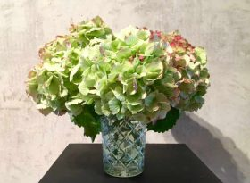 Bild mit Vase Hortensien mit Glycerin konservieren auf dem wohnblog und lifestyleblog mokowo