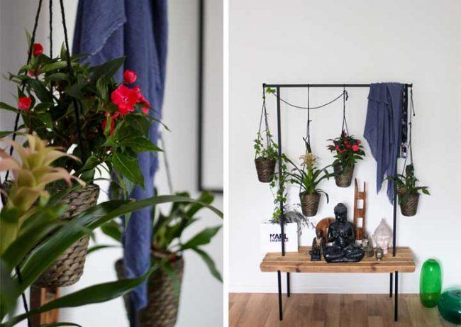 Garderobe mit Sitzbank und Blumen auf dem Wohnblog MokoWo