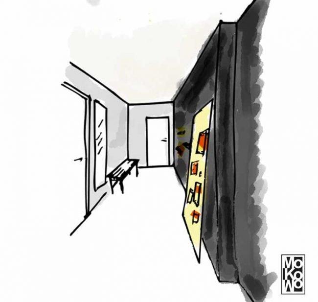 Skizze vom Flur Plattenbau für Renovierung Gestaltung Malerarbeiten