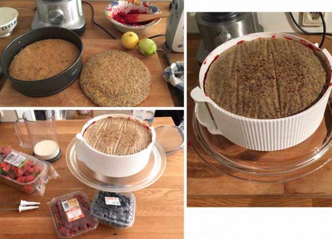 Backrezept Himbeertorte mit Frischkäse ohne Backen – Mousse, Bild mit Tortenböden