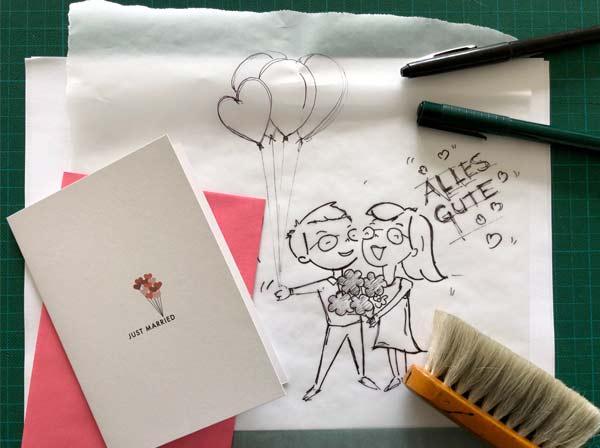 Geldgeschenk zur Hochzeit DIY hübsch verpackt - Bild von Handskizze
