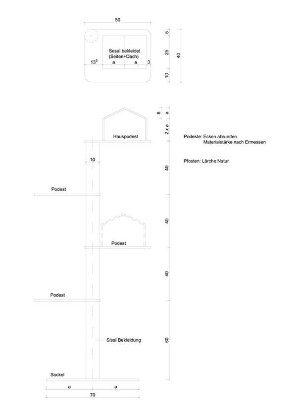 Zeichnung Bauanleitung DIY Design Kratzbaum für Katzen DIY Wohnblog Berlin