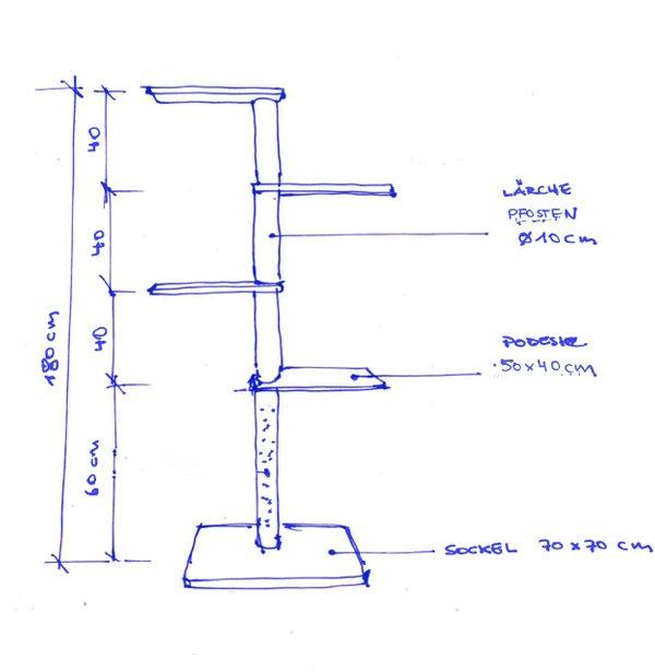 Skizze Bauanleitung DIY Design Kratzbaum für Katzen DIY Wohnblog Berlin