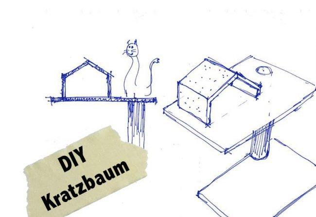 Skizzen Bauplan Design Kratzbaum für Katzen DIY Wohnblog Berlin