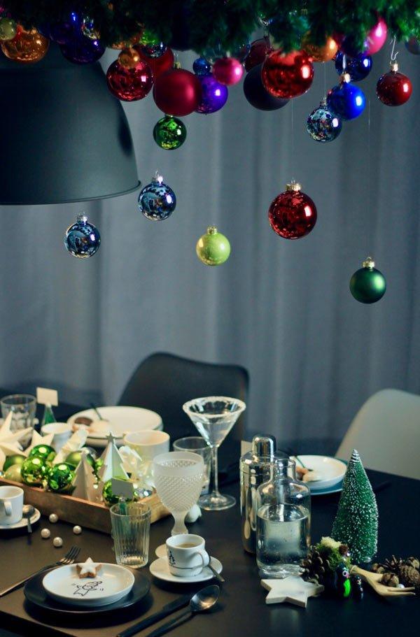 diy hängende weihnachtsdeko über esstisch an weihnachten - dekotrend 2018