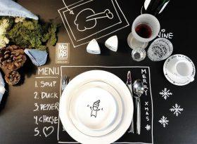 aufgemalte Tischdeko Tischordnung Besteck Geschirr zum selbermachen