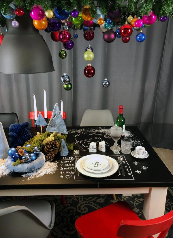 aufgemalte Tischdeko Tischordnung Besteck Geschirr auf tafelfolie zum selbermachen