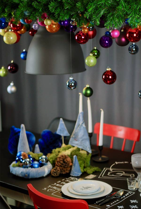 modische Weihnachtsdeko aus Jeans zum selbermachen DIY