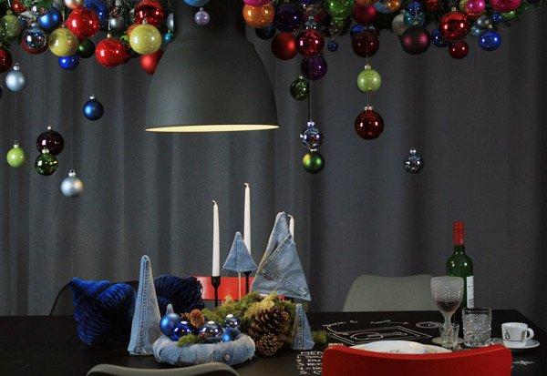 Weihnachtsdeko aus Jeans Upcycling Idee zum nähen