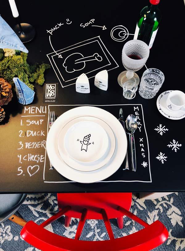 DIY geschirr an Weihnachten mit selbst gemalter Tischdeko