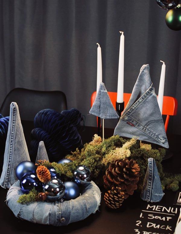 Weihnachtsdeko aus Denim Jeans Upcycling Idee zur Vorweihnachtszeit