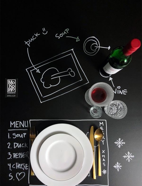aufgemalte Tischdeko DIY zum selbermachen mit Tafelfolie Weihnachten 2018